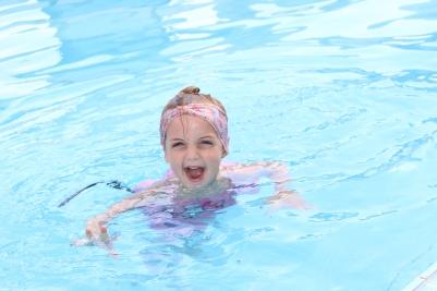 A happy little swimmer